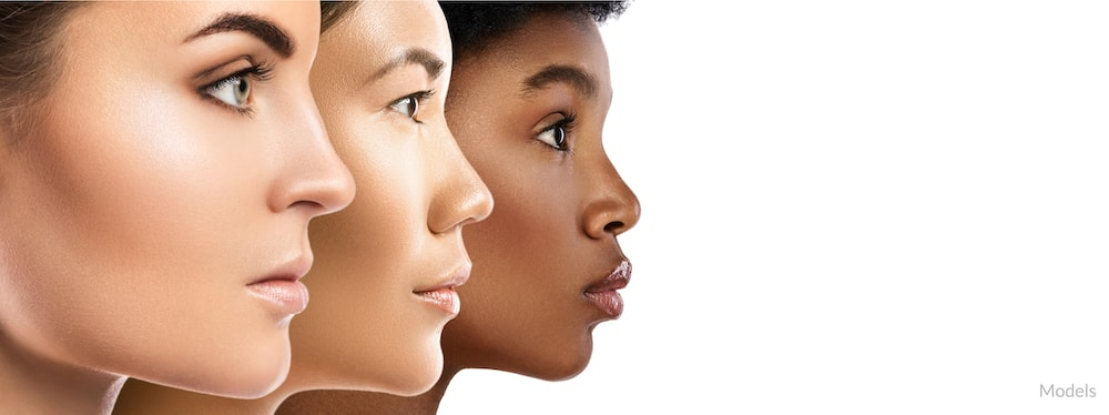 Faces of women with clear, healthy skin.