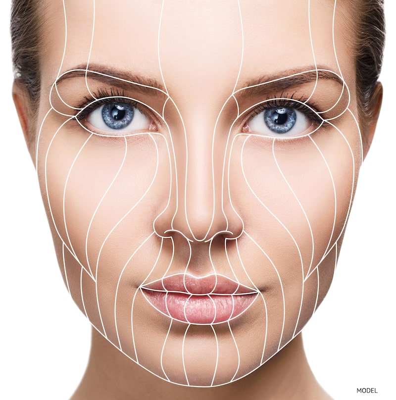 Woman with contour lines superimposed over her face.