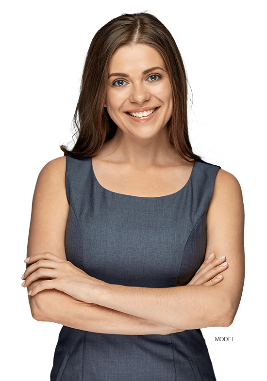 Woman smiling with arms crossed